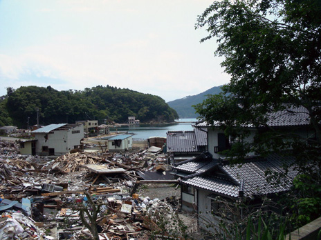 beautiful bay vs. houses that survived Tsunami and debris, Karakuwa, Kesennuma-shi